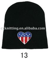 knitted black beanie hat with embroidered logo