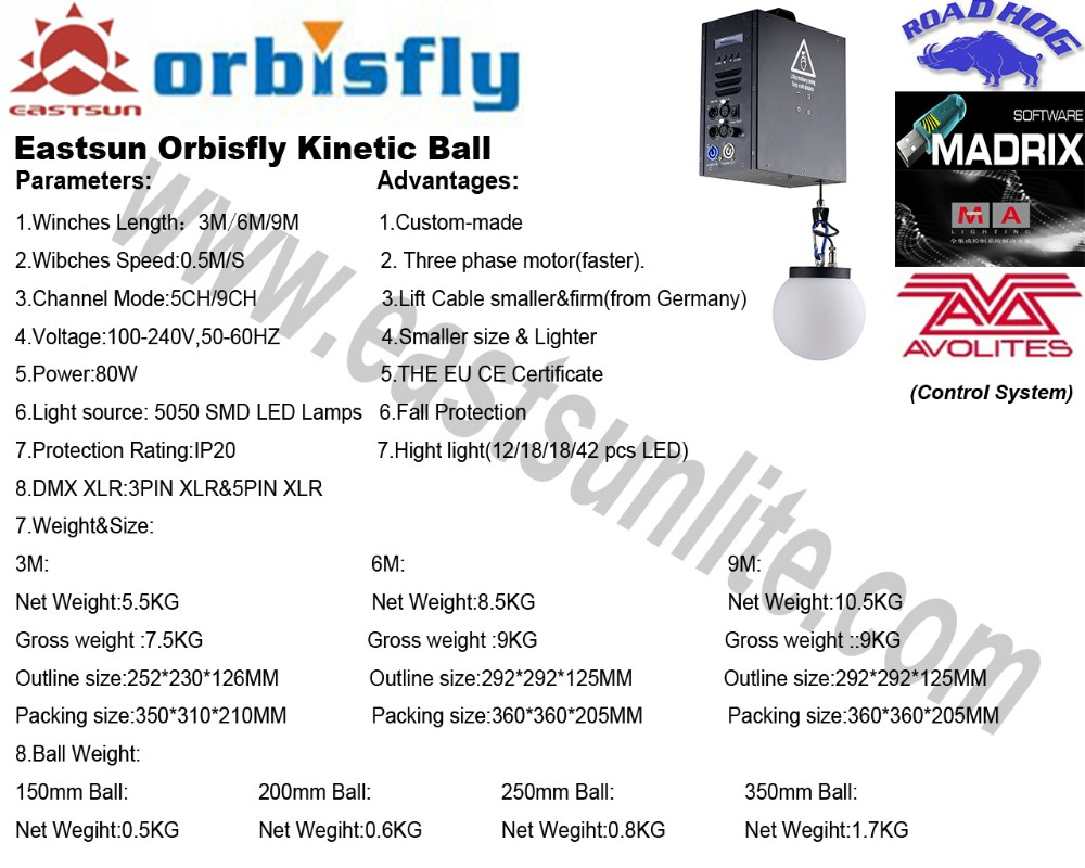 Orbis fly Ceiling install LED RGB 3 ball light sphere for Shopping Mall