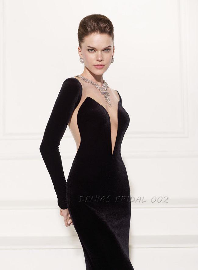 Black Velvet Long Evening Dress