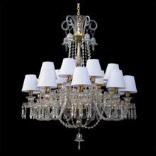 European Style Luxury Silver Candle Crystal Chandelier Light With Lampshade