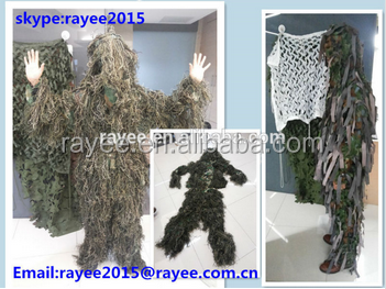 Military Equipment Wool Yarn Ghillie Suit for Hunting, hunting clothing, woodland leaf / traje ghillie