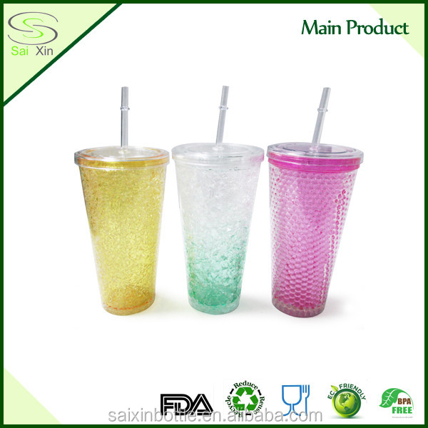 Colorful IM-014 Plastic AS Insulated freezing beer mug with Gel with Straw