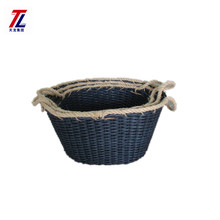 Fashionable wholesales decorative hand-made woven recycled newspaper basket with hemp rope handle
