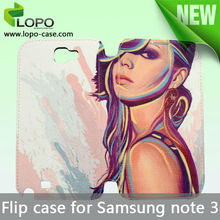 Sublimation full size printing leather flip case for Samsung note 3