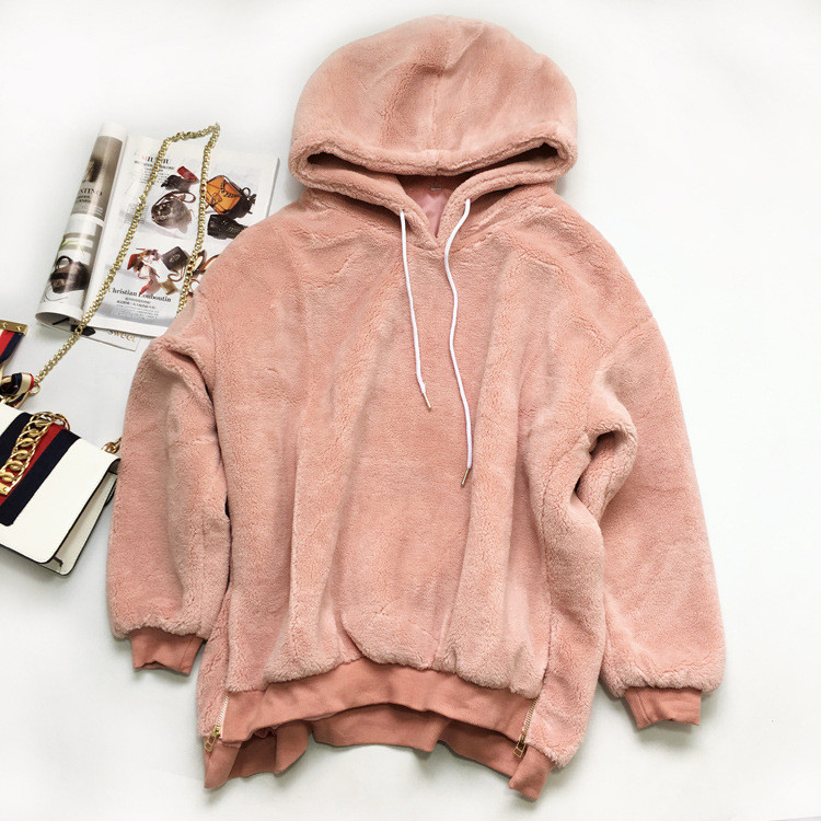 fur hooded sweater women cashmere wool hoodies