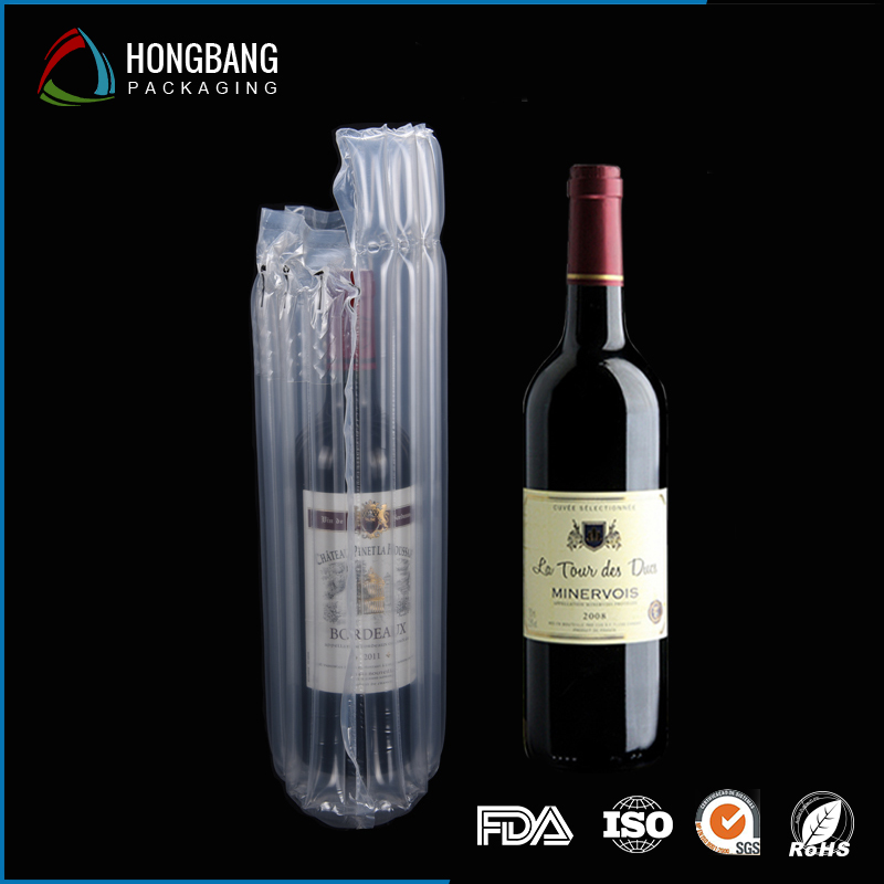 Free samples china wholesale durable shock resistance wine bottle protective plastic inflatable air bag 008