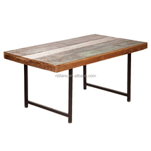 FN-6571 industrial modern design metal base solid wood dining table