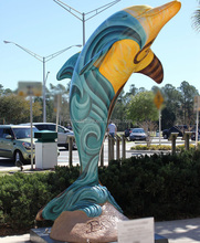Painted colorful fiberglass dolphin statue for outdoor decoration
