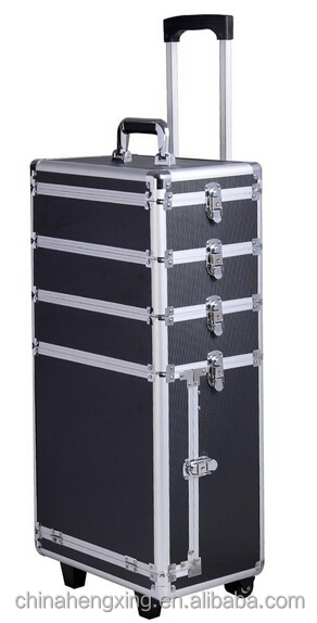 Professional 4 in 1 Aluminum Rolling Makeup trolley Case vanity box with lock