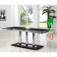 DT-2073 Elegance Contemporary Black Glass and Chrome Large Extending Dining Table