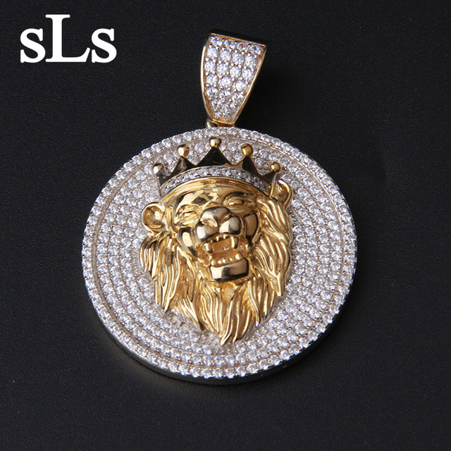 Fashion Men'S Gold Plated Jewelry Lion Head Pendant