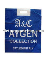HDPE white custom printed welded patch handle poly plastic shopping bag made in Vietnam- www.vietnampolybag.com