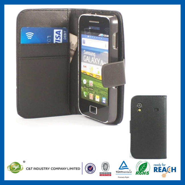 C&T wallet leather case for samsung galaxy ace s5830