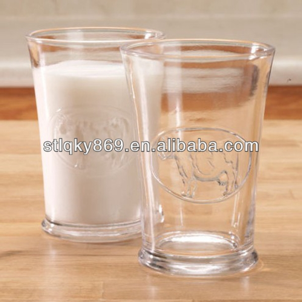 Embossed dairy cows design Milk glass cups OEM China glass factory Cheap price engrave glass tumblers for drinking milk