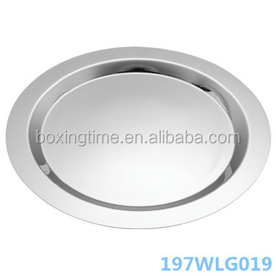 Mirror Polishing Hotel Serving Round Tray Stainless Steel Plate Mirror Tableware Serving Tray