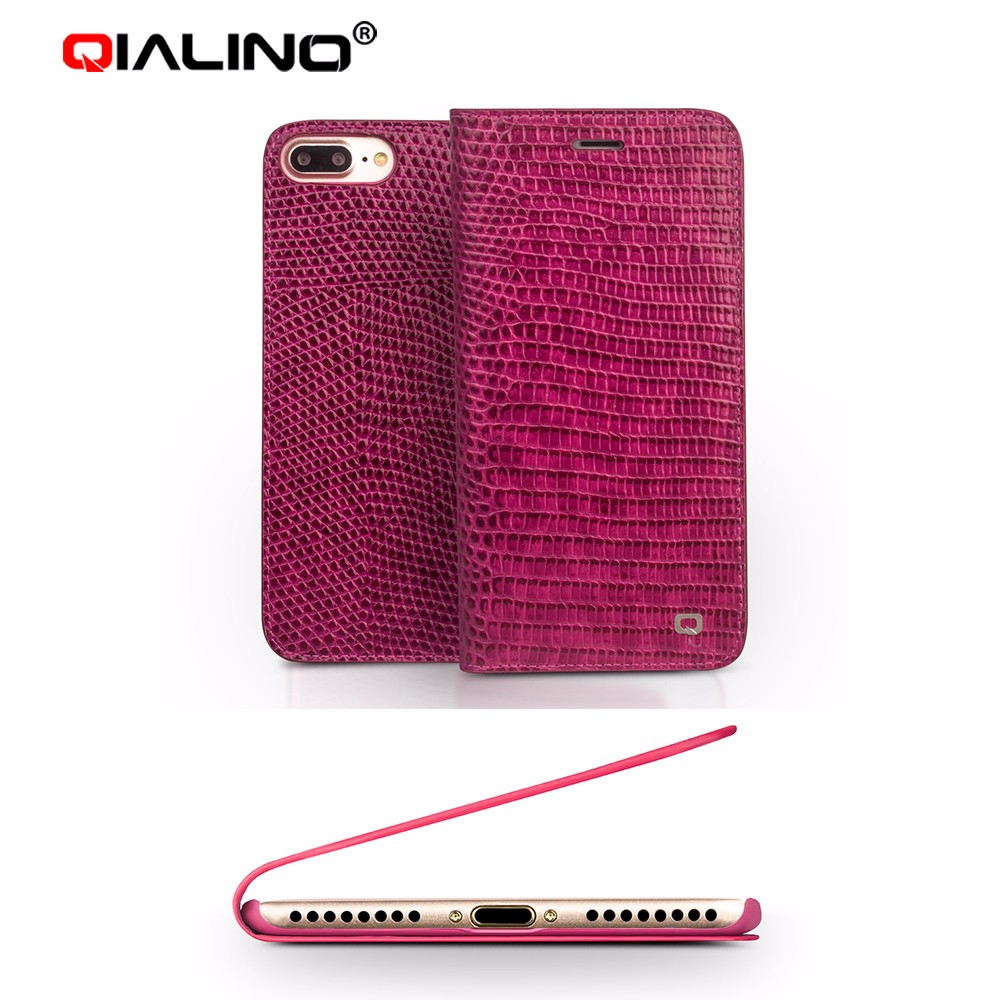 QIALINO Custom Design Ultra Slim Luxury Crocodile Leather With Card Holder Flip Case For iPhone 7