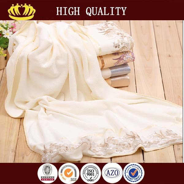 cotton plain embroidery small terry lace towels wholesale