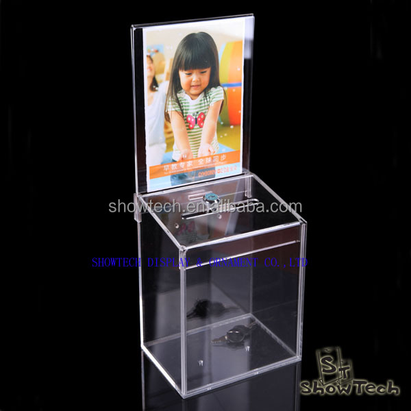 Acrylic transparent acrylic collect & dispenser plexiglass lockable donation box with sign holder ST-CCMAK-02