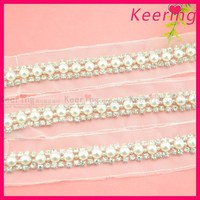 Popular design bling worldwide decorative pearl and beads lace trim wholesale WTP-1263
