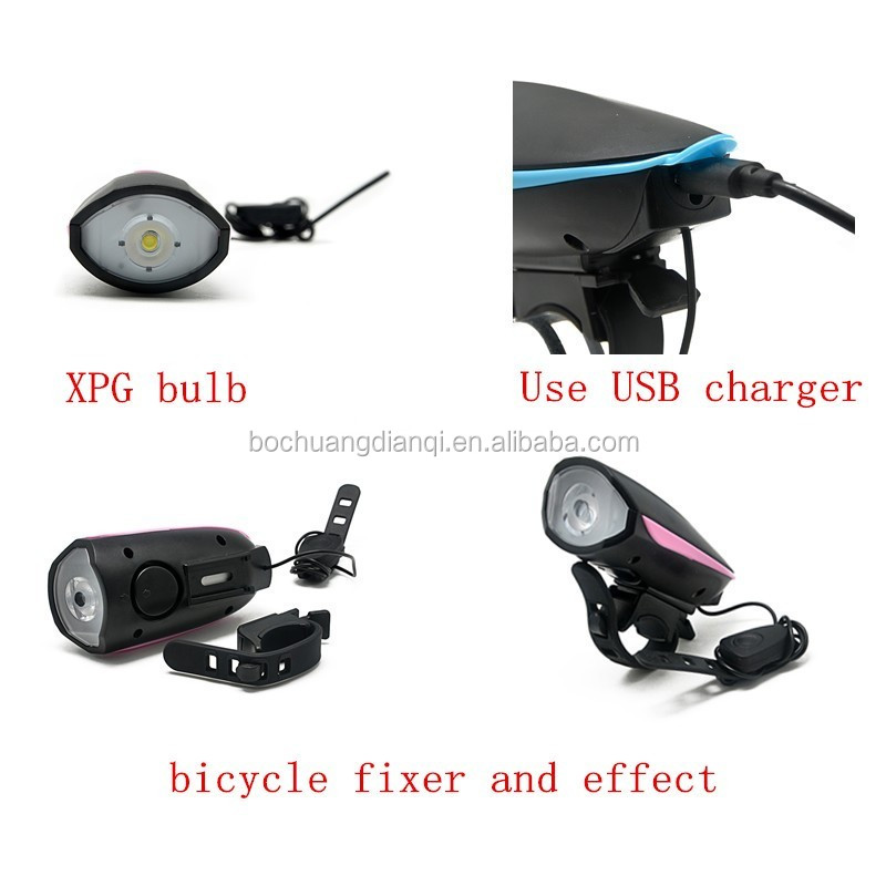 high brightness rechargeable bicycle head light with speaker usb bike light with bell