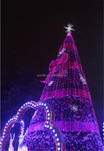 outdoor Large Artificial christmas decoration tree Purple lighting Christmas tree with snow decoration