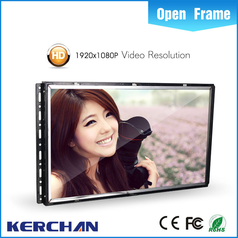 15.6 inch open frame LCD advertising video display/transparent metal advertising poster
