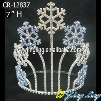 "7"" rhinestone snowflake pageant crown for Christmas"