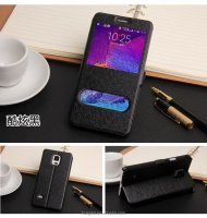 QWD factory price premium touch screen rotating view window color leather flip phone case for samsung note4