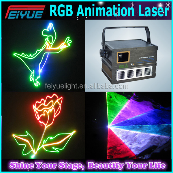 Music Automatic/Master-Slave/DMX512(12CH) 3D 1w RGB animation laser stage light for night club