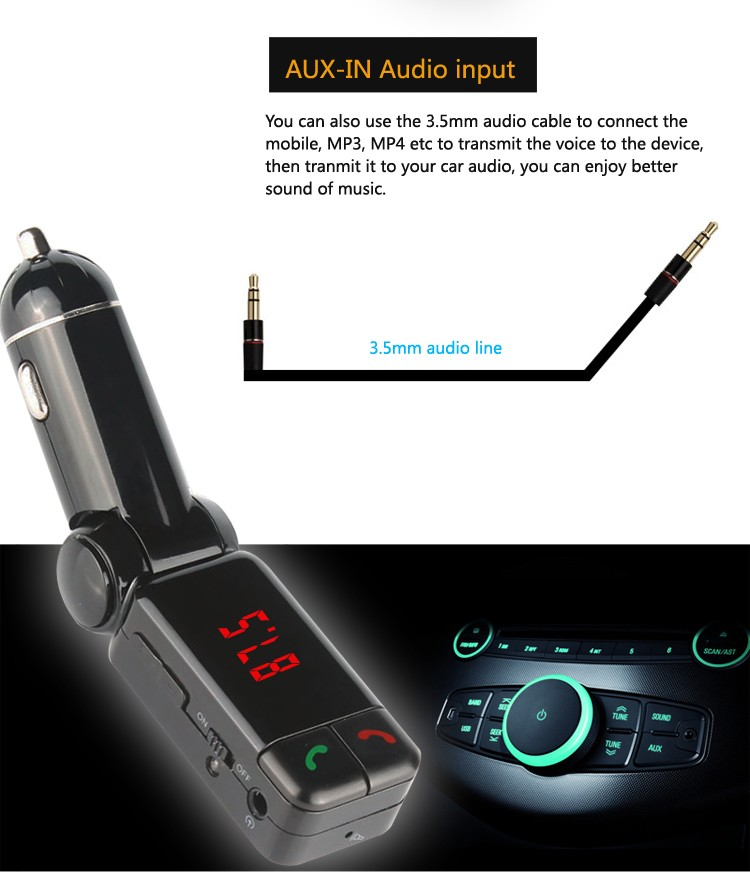 GXYKIT Promotion price hot selling Black BC06 car kit in-car Bluetooth receiver with LED display