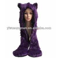Faux fur Earmuff scarf gloves animal hat