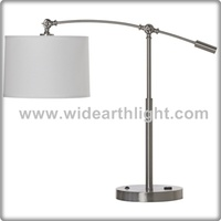 UL CUL Listed Adjustable Arm Custom Hotel Desk Lamp With Outlet And Fabric Shade For Bedroom T50075