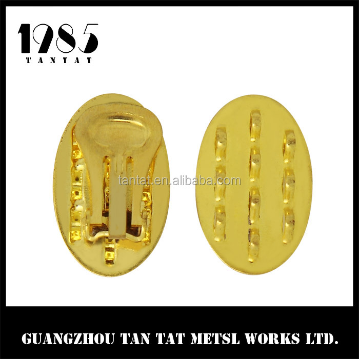 Gold Plated Clip On Earring with 8mm Oval Pad Setting Close up