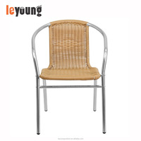 Aluminum and Beige Rattan Commercial Indoor/Outdoor Stackable Cafe Chair
