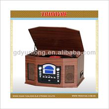 LASTEST HOT SALE WOODEN MP3 TURNTABLE WITH CD/CASSETTE PLAYER, PLL RADIO & USB/SD ENCODE AND BUILT-IN SPEAKER
