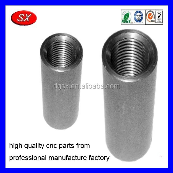 customized nickel zinc plating steel threaded insert,cnc lathe machining part thread insert metal sleeve
