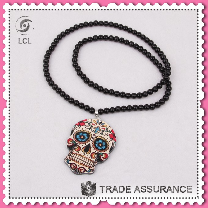 Latest design beads necklace with skull pendant, the day of dead black jewellery pendant necklaces