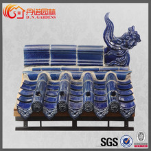 High quality colorful blue ceramic roof tile for villa house and pavilion golden temple