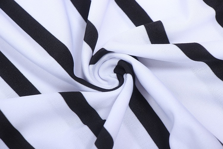 Fashion design black and white stripe dress spaghetti strap girl dresses