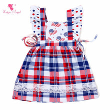 Baby girl summer dress 4th of july cotton dress patriotic patten bow dress