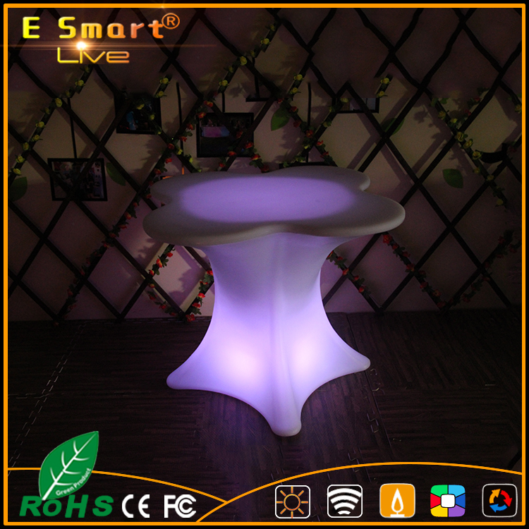 Rechargeable round led light table with metal stand/illuminated plastic led cocktail table/nightclub table