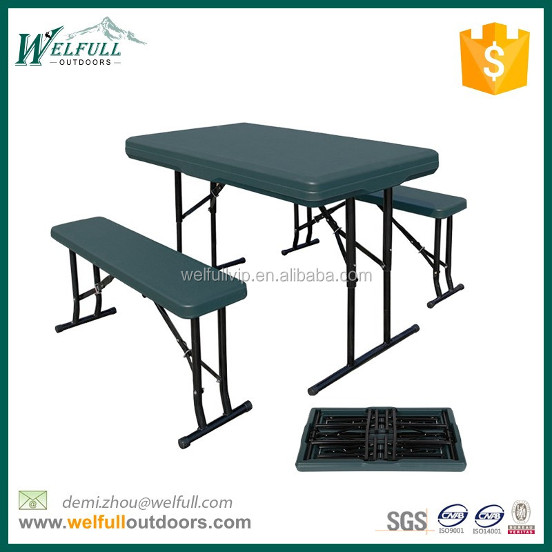 Hot selling portable 3kits beer HDPE rectangle table set with bench