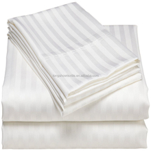 "T250 3cm stripe white duvet cover with hand hole 86x96"" for hotel"
