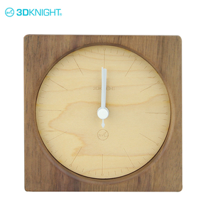Handmade top quality carved wood cube simple wooden clock