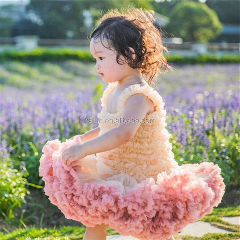 Wholesale hot sale Girls birthday tutu dress to kids flower tulle puffy dress for kids tutu dress KL-DS-004