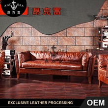 Vintage brown comfortable leather 1+2+3 sofa set A130