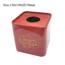 Custom print square paper tin tissue package box for promotion can accept different pattern