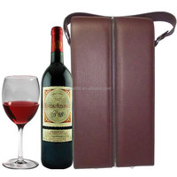 custom PU faux leather double bottles wine carrier box