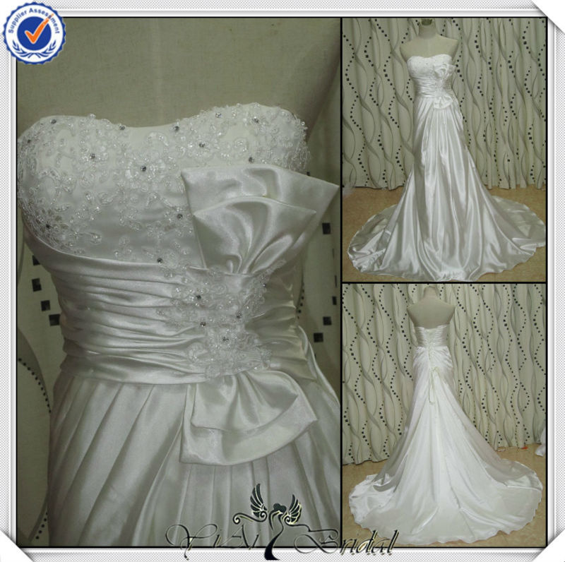 JJ2767 Newest Beading Satin Mermaid Bridal Dress In Cream Color