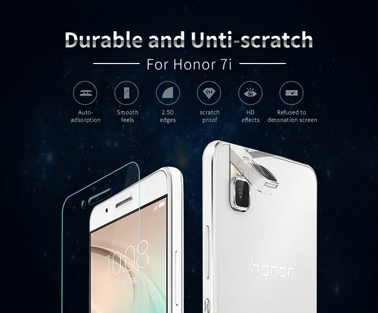 0.44mm and 0.33mm high quality nuglas tempered glass screen protector for Huawei Honor 7i